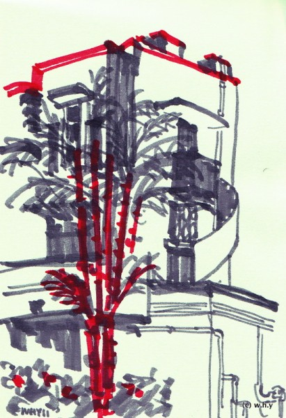 Tiong Bahru drawing using Jumbo Magic Pens Marker