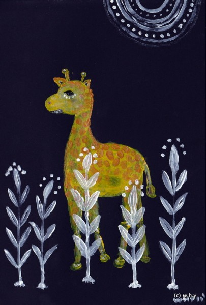 giraffe in the dark