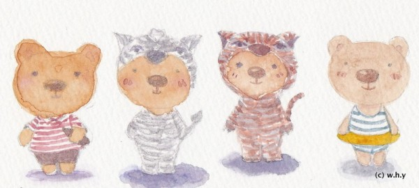 bears in striped clothes