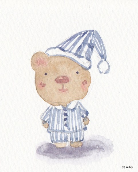 bear in striped pajama