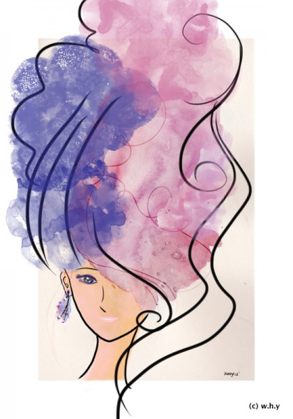 watercolor hair girl