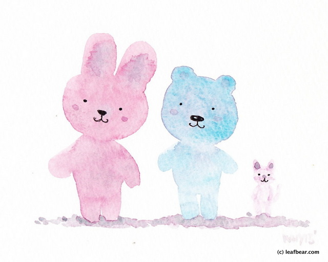 bunny, bear and cat