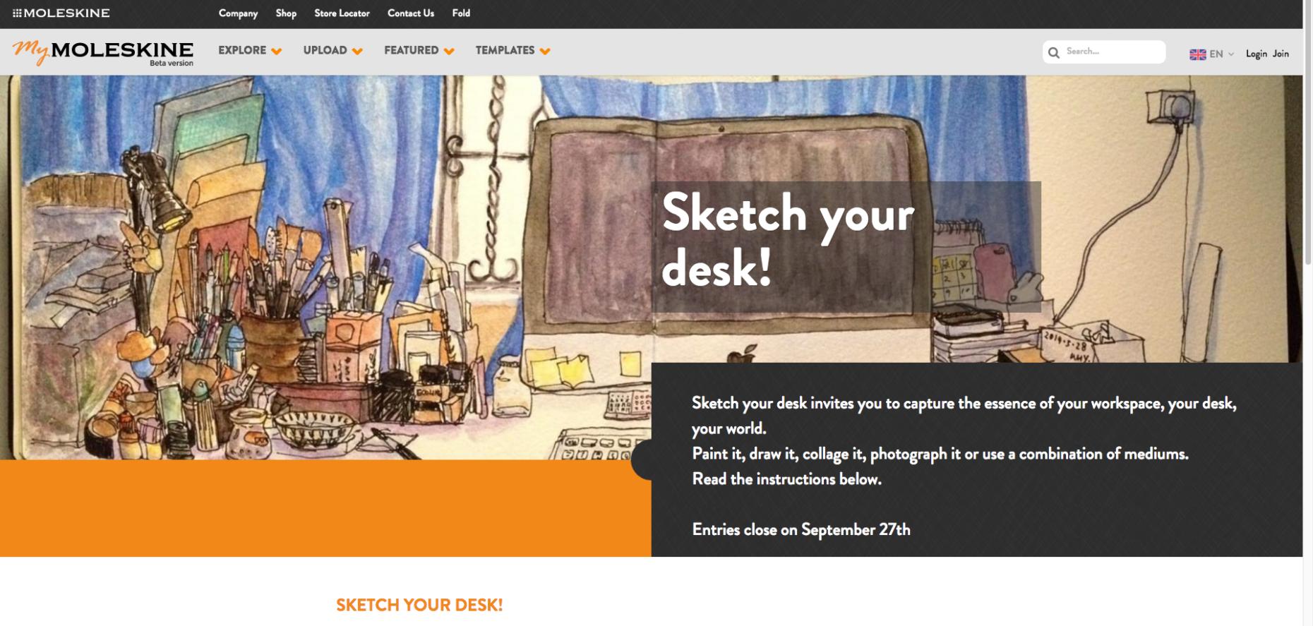 """Sketch your desk"" challenge"